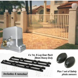 Sliding Gate Opener with 4 remotes, 4m gear rack & Safety Photo Sensors