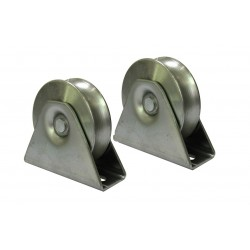 Sliding Gate Wheels, Set of 2 x 90mm U Groove Bearing Rollers External Bracket