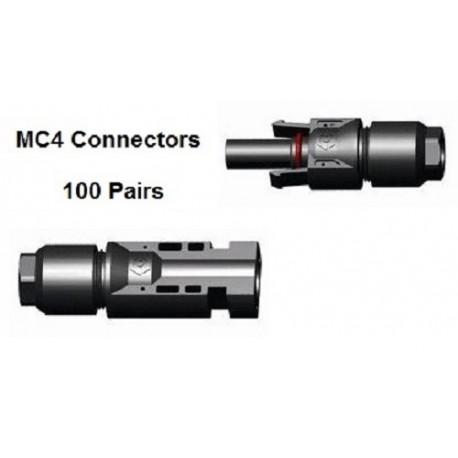100 x MC4 Male & Female connector pair